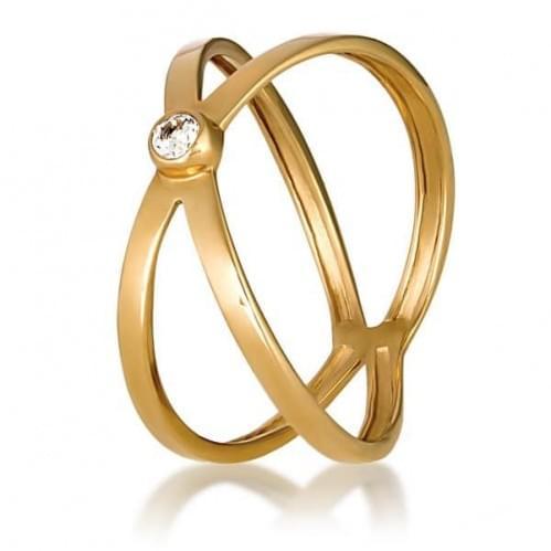 Золотое кольцо с фианитом КВ773и