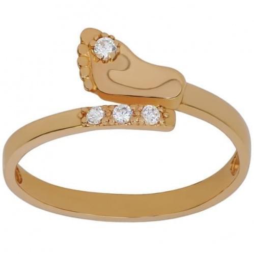 Золотое кольцо с фианитом КВ796и
