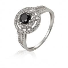 Кольцо серебряное со вставкой