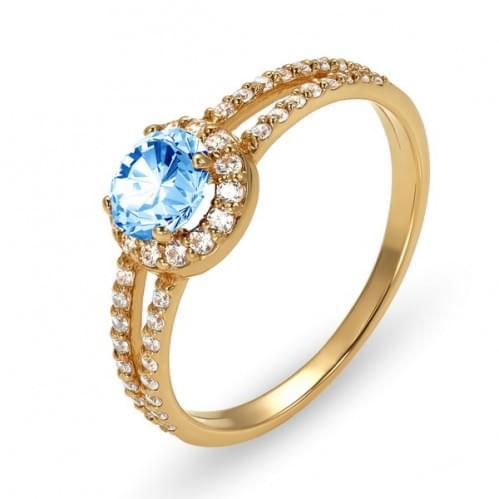 Золотое кольцо с фианитом КВ899.01и