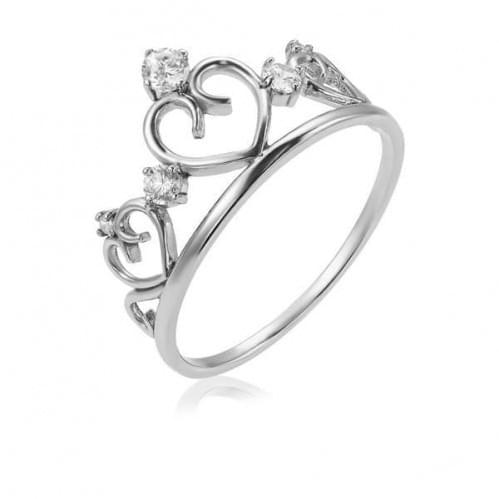 Серебряное кольцо Корона с фианитом КВ927(2)с