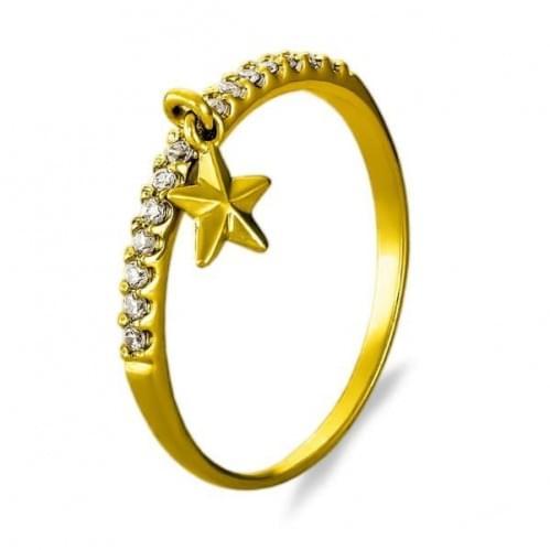 Кольцо из лимонного золота с фианитом КВ933.5Ли