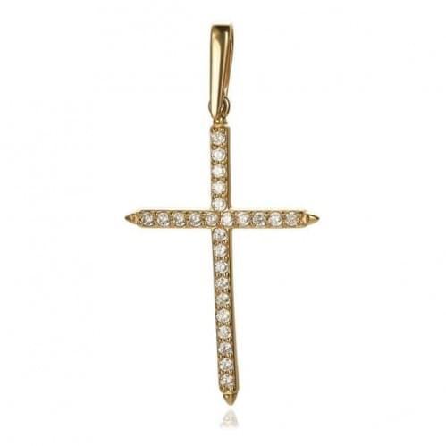 Золотой крестик с фианитом КР045(м)и