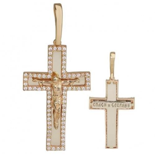 Золотий хрестик з фіанітом КР047(2)и