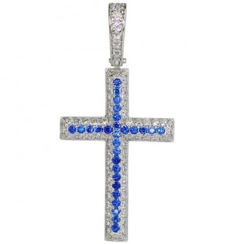 Серебряный крестик с фианитом КР048.02с