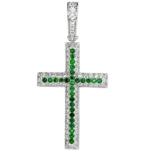 Серебряный крестик с фианитом КР048.07с