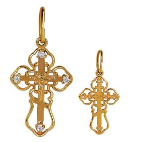 Золотой крестик с фианитом КР061и