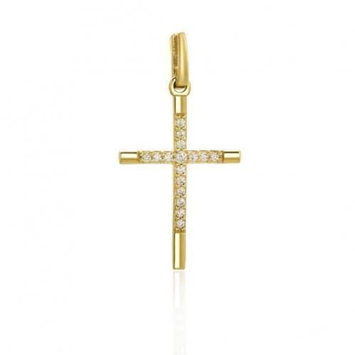 Крестик из лимонного золота с фианитом КР062Ли