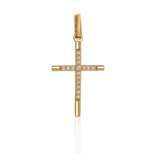 Золотий хрестик з фіанітом КР062и