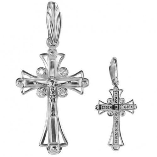 Хрестик з білого золота з фіанітом КР097Би