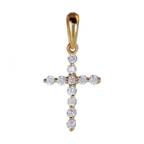 Золотий хрестик з фіанітом КР119и