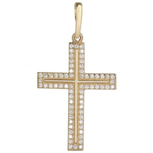 Золотий хрестик з фіанітом КР277и