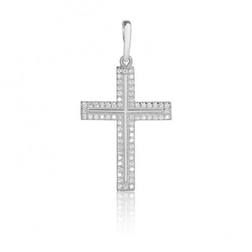 Срібний хрестик з фіанітом КР277с