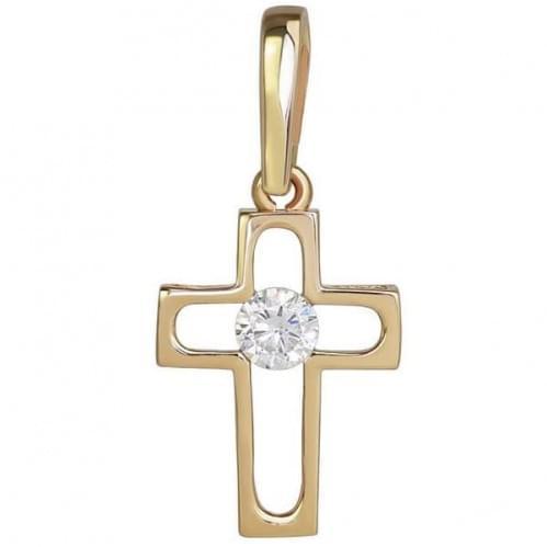 Золотий хрестик з фіанітом КР278и