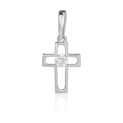 Срібний хрестик з фіанітом КР278с