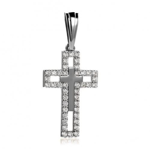 Хрестик з білого золота з фіанітом КР301Би