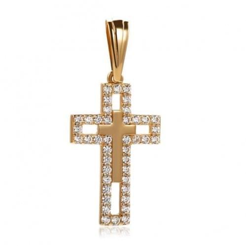 Золотий хрестик з фіанітом КР301и