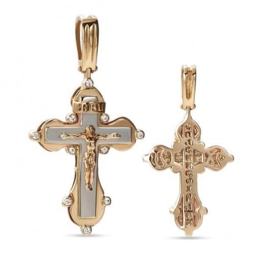 Золотой крестик с фианитом КР310и