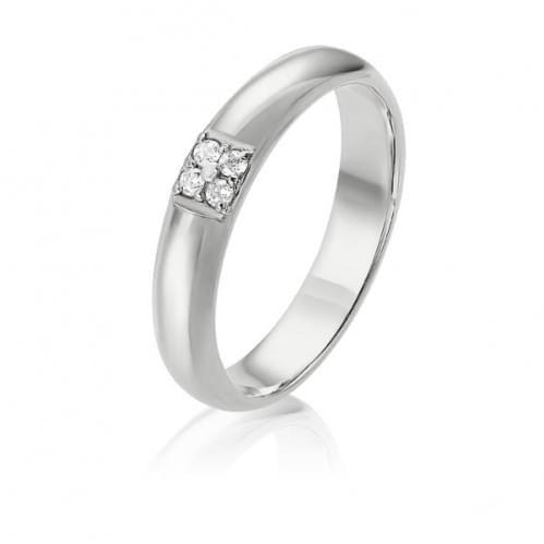 Обручальное кольцо из белого золота ОК274Би
