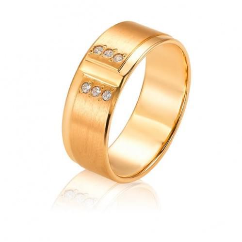 Золота обручка з цирконієм ОК295