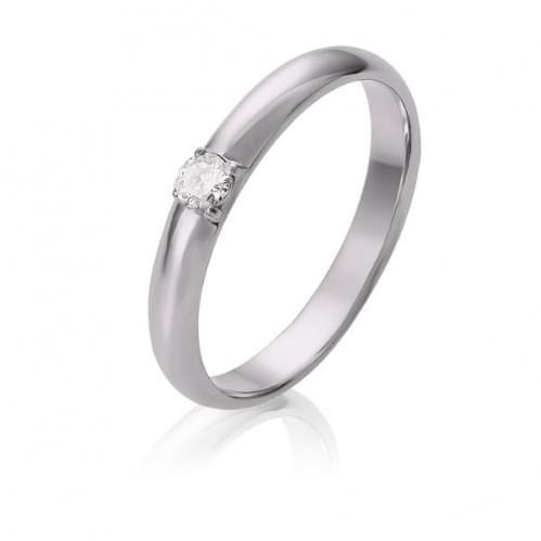 Обручальное кольцо из белого золота со вставкой ОК305Бн