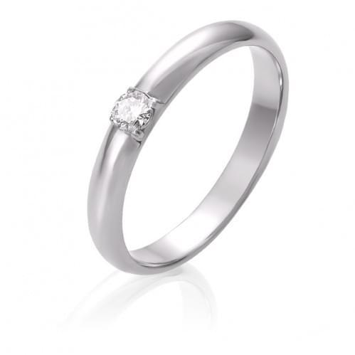 Обручальное кольцо из белого золота с бриллиантом ОК305.00100Бн
