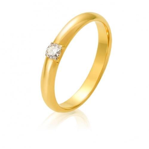 Обручка з лимонного золота з діамантом ОК305.00100Лн
