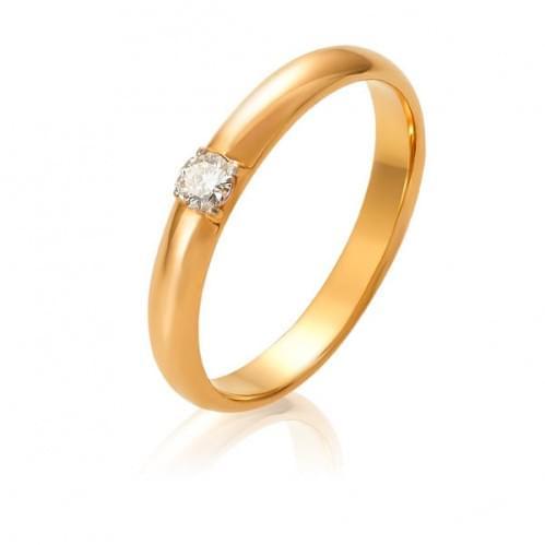 Золотое обручальное кольцо с бриллиантом ОК305.00100н