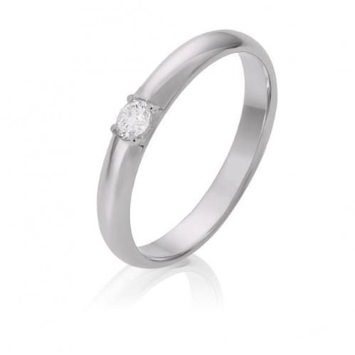 Обручальное кольцо в белом золоте с бриллиантом