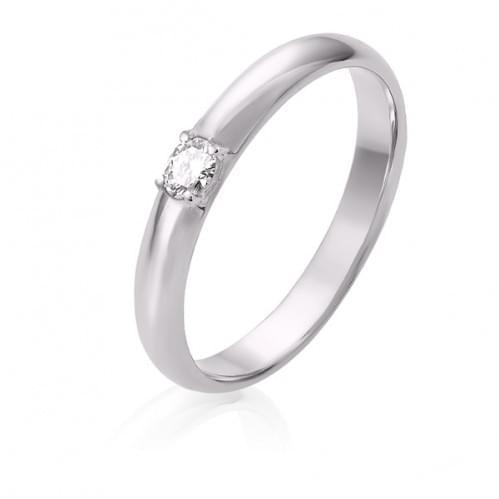 Обручка з білого золота з діамантом ОК306.00100Бн