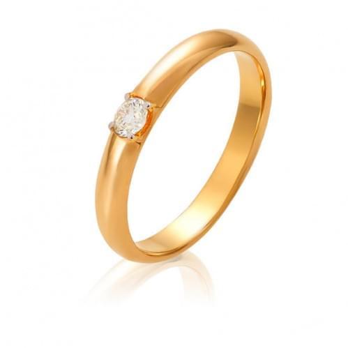 Золотое обручальное кольцо с бриллиантом ОК306.00100н