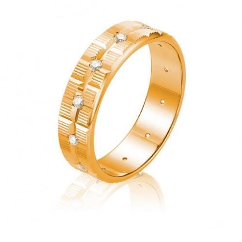 Золотое обручальное кольцо с фианитом ОК320