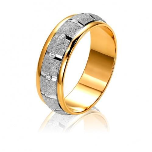 Золотое обручальное кольцо с фианитом ОК323