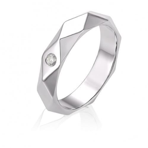 Обручка з білого золота з діамантом ОК334.00100Бн