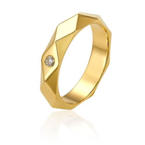 Обручка з лимонного золота з діамантом ОК334.00100Лн