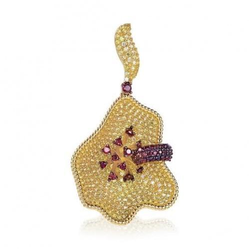 Золотой кулон (подвеска) с цитрином ПВ1212Лн(к)