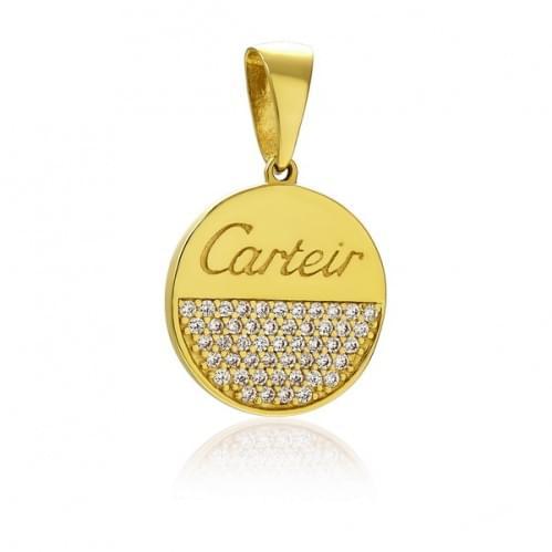 Подвеска-кулон из лимонного золота с фианитом ПВ1455Ли
