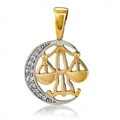 Кулон золотой Знак Зодиака Весы