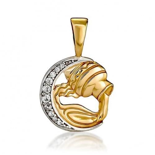 Кулон золотой Знак Зодиака Водолей