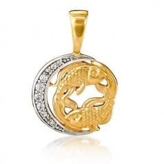 Кулон золотой Знак Зодиака Рыбы