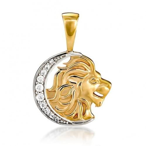 Кулон золотой Знак Зодиака Знак Лев