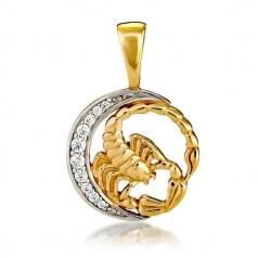 Кулон золотой Знак Зодиака Скорпион