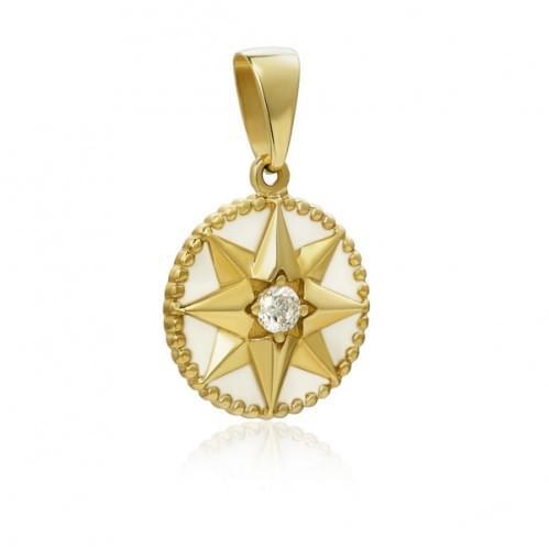 Підвіска-кулон з лимонного золота з фіанітом ПВ3341(1)Лр