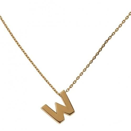 Кулон золотой буква W