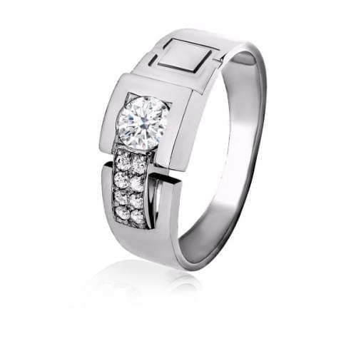 Серебряное кольцо с фианитом ПЧ050с