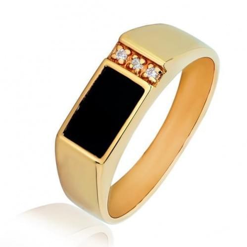 Золотое кольцо с ониксом ПЧ994и