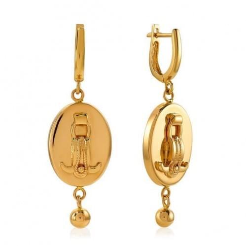 Золотые серьги без вставки СБ466к