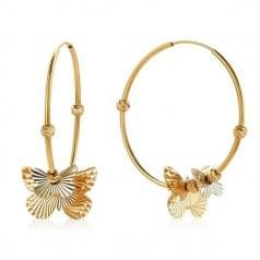 Золотые серьги-кольца с бабочками