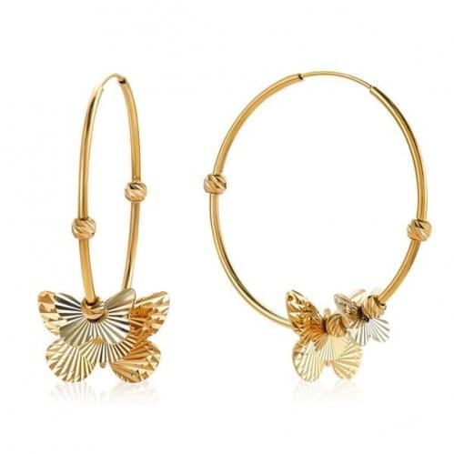 Золотые серьги-кольца с бабочками СБ482к