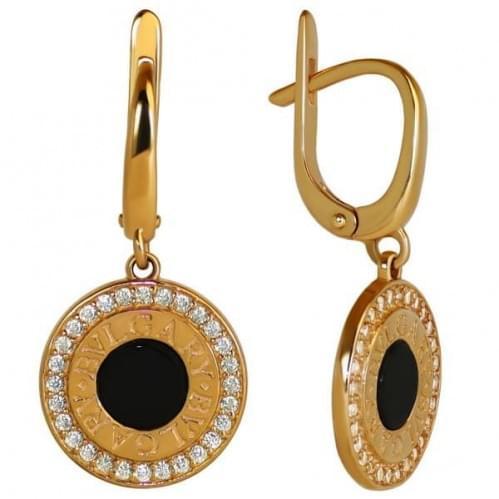 Золоті сережки з оніксом СВ1051и